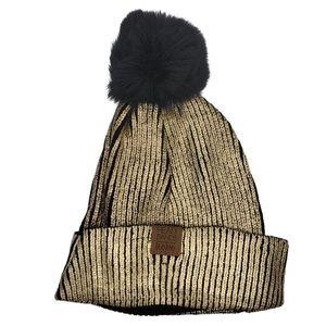 🆕 Headbands Of Hope: Black/Gold Pom Beanie